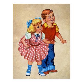 Niños de la tierra del caramelo postal