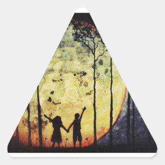 Niños de luna calcomanía trianguladas personalizadas