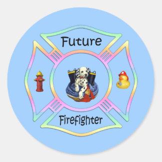 Niños del bombero pegatina redonda