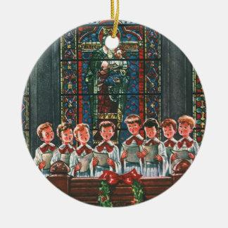 Niños del navidad del vintage que cantan al coro adorno de cerámica