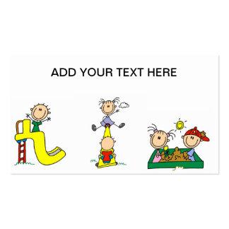 Niños del palillo en las tarjetas de visita del ju