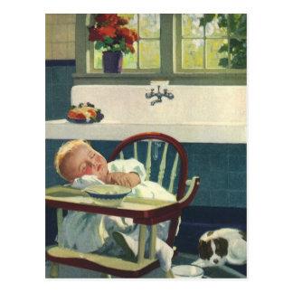 Niños del vintage, cocina del Highchair el dormir Postal
