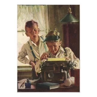 Niños del vintage, muchachos periodista, fiestas invitación 12,7 x 17,8 cm