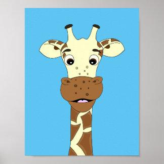 Niños divertidos del dibujo animado de la jirafa póster