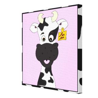 Niños divertidos del dibujo animado de la vaca impresión en lienzo