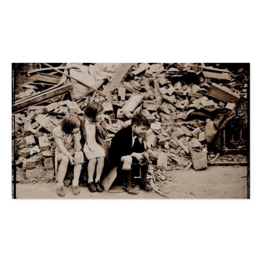 Niños en los escombros plantilla de tarjeta de visita