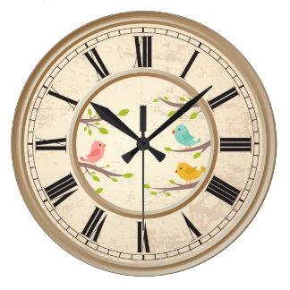 Niños lindos de los pájaros del dibujo animado reloj redondo grande