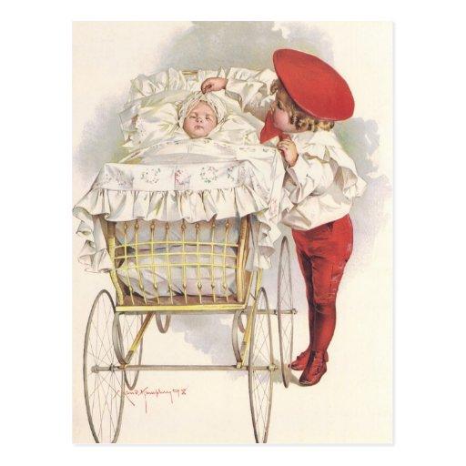 Niños, niño y bebé del Victorian del vintage en co Postales