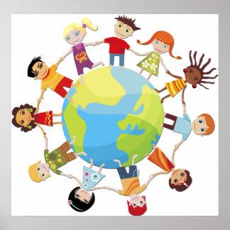 Niños para la paz de mundo póster