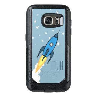 Niños personalizados Rocketship retros azules del Funda Otterbox Para Samsung Galaxy S7