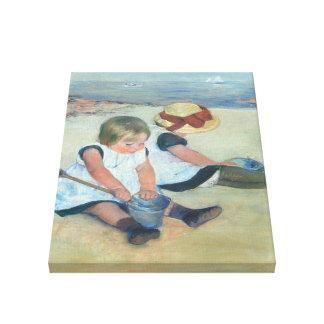 Niños que juegan en pintura al óleo del vintage de impresión en lienzo