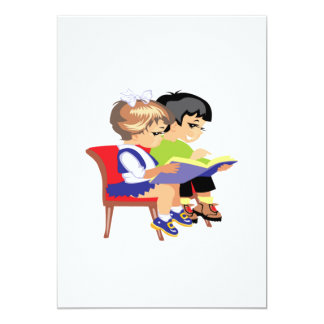 Niños que leen 2 invitación 12,7 x 17,8 cm