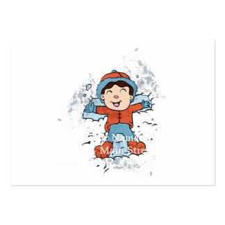 Niños que mienten en nieve como ángeles de la tarjetas de visita grandes