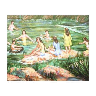 Niños que nadan impresión en lienzo