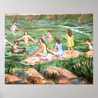 Niños que nadan póster