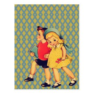 Niños retros lindos de la escuela del vintage del postal