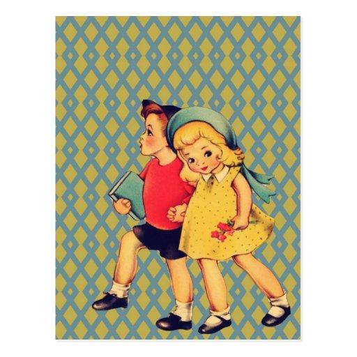 Niños retros lindos de la escuela del vintage del  tarjetas postales