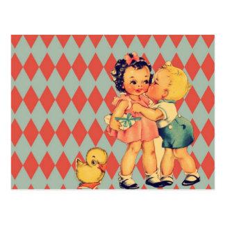 Niños retros lindos del vintage del modelo postales