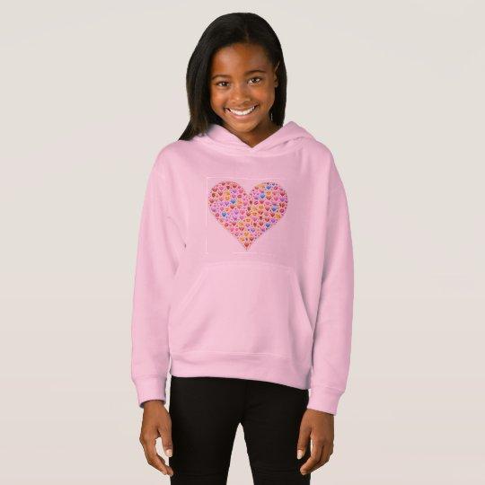 NIÑOS rosados del corazón de Emoji de la sudadera