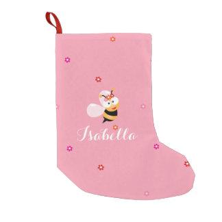 Niños rosados femeninos lindos del dibujo animado calcetín navideño pequeño