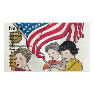 Niños y americano Falg del vintage Plantilla De Tarjeta De Visita