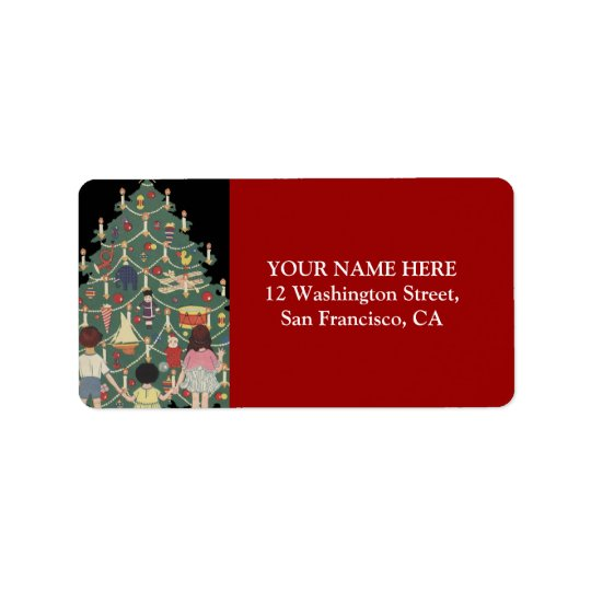 Niños y árbol de navidad - ilustracion del vintage etiqueta de dirección