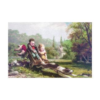 Niños y perro que persiguen una pintura del impresión en lienzo