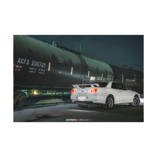 Nissan Skyline R34 con el tren en Los Ángeles Impresión De Lienzo