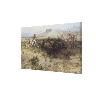 No. 26 de la caza del búfalo por cm Russell, Impresión En Lienzo
