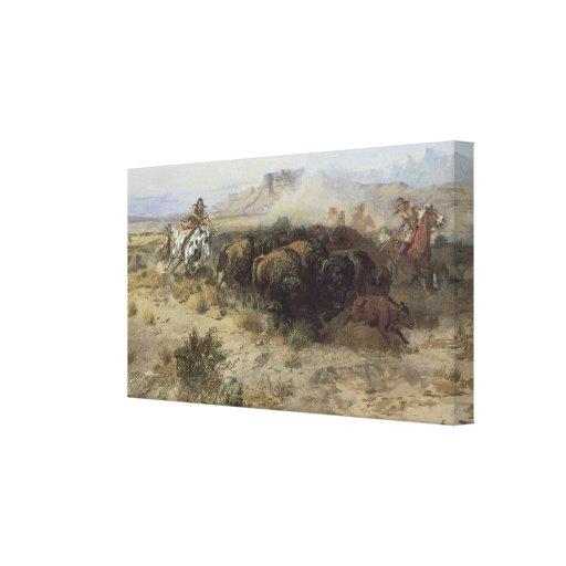 No. 26 de la caza del búfalo por cm Russell, Impresión En Lienzo Estirada