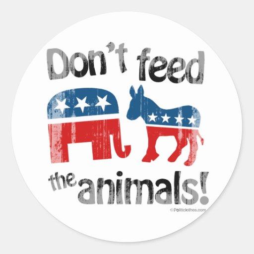 No alimente a animales la política de partidos pegatinas redondas