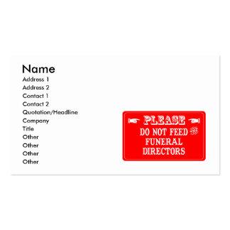 No alimente a los directores de funeraria plantillas de tarjetas de visita