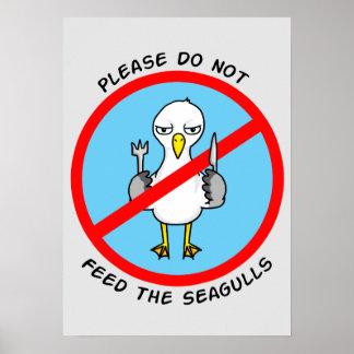 No alimente por favor las gaviotas póster