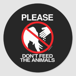 No alimente por favor los animales republicanos etiqueta redonda