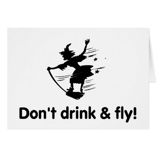 No beba y no vuele a la bruja del vuelo tarjeton