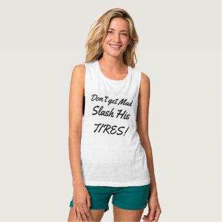 No consiga a raya vertical enojada sus neumáticos camiseta con tirantes