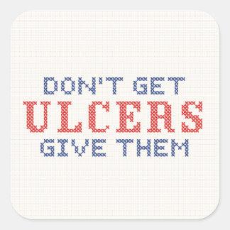 No consiga las úlceras pegatina cuadrada