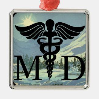 No. de lujo 1 del médico ornamento adorno navideño cuadrado de metal