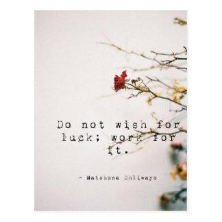 No desee para la postal inspirada de la suerte