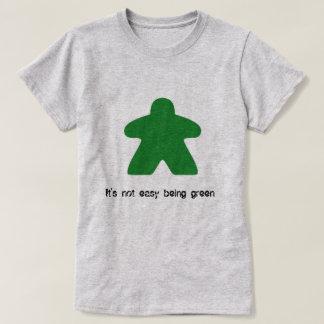 No es el ser fácil camiseta verde de Meeple