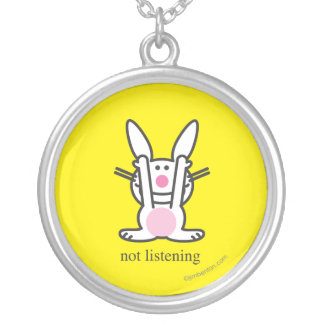 No escuchando colgante redondo