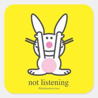 No escuchando pegatina cuadrada