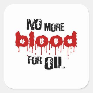 No más de sangre para el aceite calcomanías cuadradass personalizadas