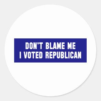 No me culpe que voté al republicano pegatina redonda