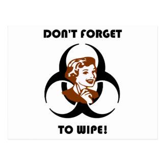 No olvide limpiar tarjeta postal