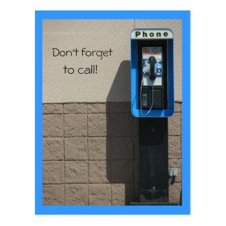 ¡No olvide, llamar! Postal