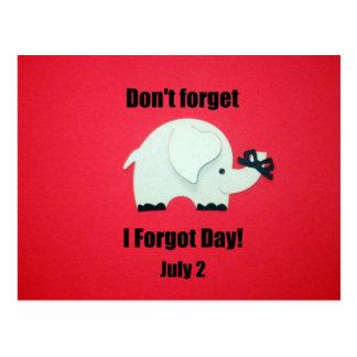 No olvide: Olvidé día, el 2 de julio Postal