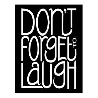 No olvide reír la postal blanca