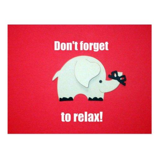 ¡No olvide relajarse! Tarjeta Postal