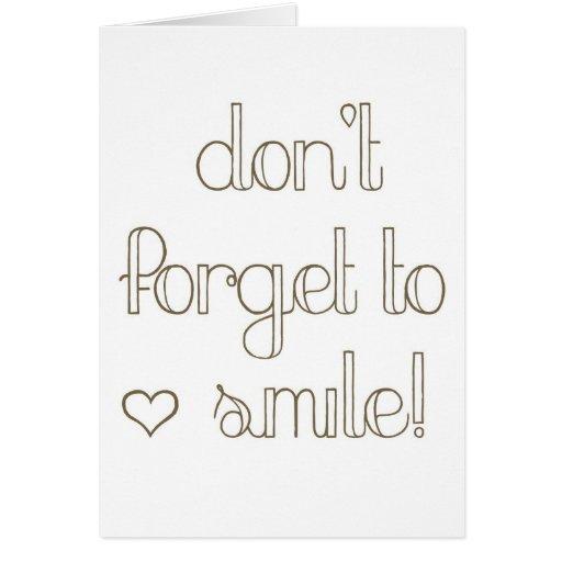 No olvide sonreír tarjeta del práctico de costa